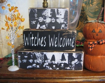 Primitive Halloween Sign Shelf Blocks Witches Welcome Welsh Traditional Costume