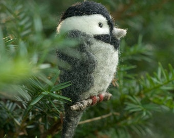 Needle Felted Bird Ornament - Chickadee