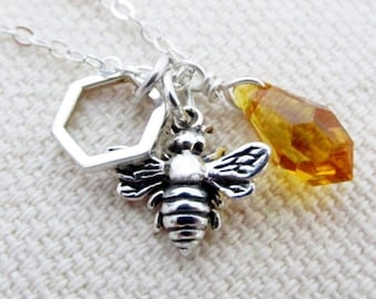 Honey Bee Charm Necklace, Bee Charm Necklace, Honeycomb, Beekeepers Gift, Honey bee Jewelry, Beekeepers Necklace