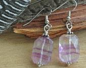 Faceted Fluorite Earrings // Dangle Earrings // Stone Earrings // Rainbow Fluorite // Earrings Under 20 // Gifts For Her // Healing Stones