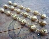 Gold Filigree Beaded Chain Extender 8mm Beads Strand of 6 Beads (1)