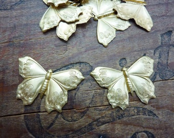 Brass Butterfly Stamping Raw Brass Detailed Butterfly (1) Made in the USA