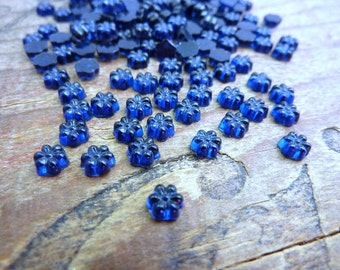 Vintage Rhinestone 4mm Glass Daisy Rhinestone Dark Sapphire Blue (20)
