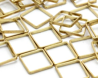 Brass Square Charm, 50 Raw Brass Square Connectors (8x0.5mm) Bs-1141