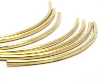 Choker Curved Tube, 12 Raw Brass Curved Tubes, Brass Extra Long Beads, Choker Findings, Charms(4x120mm) Bs 1426