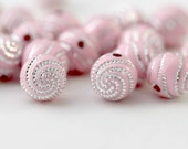 Pink Silver Etched Round Swirled Acrylic Beads 10mm (20)