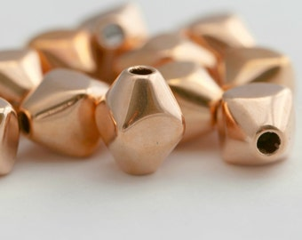 Vintage Lucite Copper Faceted Bicone Beads 16mm (12)