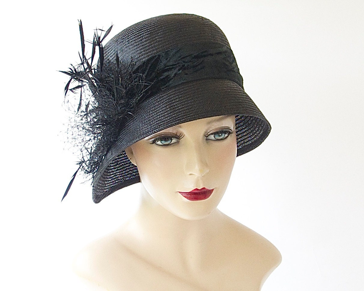 black straw cloche hat fashion 1920 s by