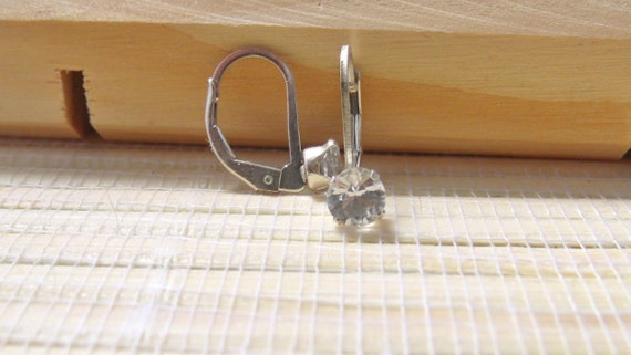 White Sapphire Earrings Leverback Sterling Silver April Alternate Birthstone 5mm On Sale