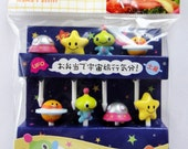 Cute Space Themed Japanese Bento Picks / Cake Toppers - UFO, Star, Alien, Planet