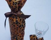 Giraffe Print Wine Bottle Bag and Matching Coaster Hostess Gift Set