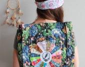 Floral Quilted Patchwork Grateful Dead Patchwork Mandala Steal Your Face Boho Upcycled Bohemian Hippie Boho Handbag Backpack OOAK Festival