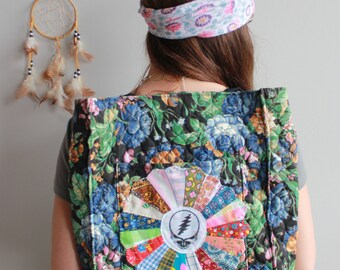 Floral Quilted Patchwork Grateful Dead Patchwork Mandala Steal Your Face Boho Upcycled Bohemian Hippie Boho Handbag Backpack OOAK Festival