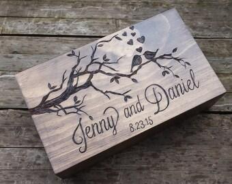 Love birds double wedding wine box, wine box ceremony, rustic wine box, memory box, wine box, wedding ceremony wine box, card box, gift