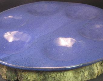 Handmade Ceramic Passover Platter or Tapas Platter - Tray - Indigo Blue