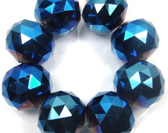 20mm Large Metallic Iris Blue Glass Quartz Faceted Round Ball Focal Beads (e7394)