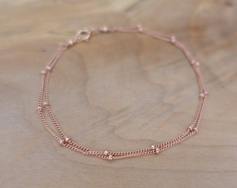 Rose Gold Double Chain Bracelet, Rose Gold Filled Satellite Chain Bracelet, Gold Beaded Chain Bracelet, Gold Double Satellite Chain Bracelet