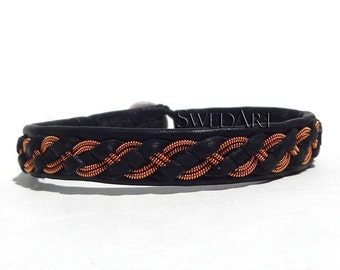 SwedArt B07 Viking Lapland Sami Leather Bracelet Pewter and Silver Braid w Copper, Antler Button, Black X-LARGE