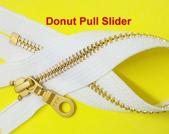 50 Black and 50 White in 7 inch Exposed  Zipper with Donut Slider  YKK Number 5 Brass Closed Bottom