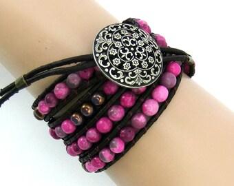Fuchsia Pink Jasper Gemstone Beaded Leather Wrap Bracelet, Handmade, 4 Wraps, Dark Brown Leather Cord, Ladder Bracelet