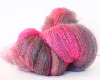 Powderpuff 4.6 oz  Wool - BFL // Nylon Art Batt // Wool Art Batt for spinning or needle felting
