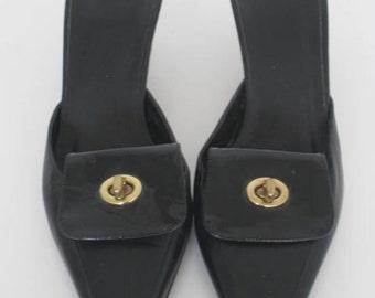 SALE Vintage COACH Shoes//Black Leather Heels//PUMPS //size 6 or 6.5//Authentic Coach