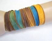 Blue Green Brown Gold Silk Ribbon Wrap - 1.5x42 inches