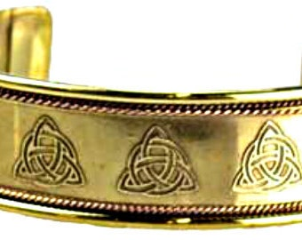 Celtic Triquetra Cuff Solid Brass and Copper Sacred Symbols Bracelet