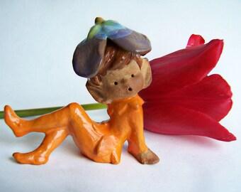 Vintage Collectible Pixie Figurines Napco Glazed Stoneware ON SALE , 1970s Orange Singing Pixie