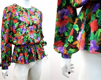 Woman's Vintage Red Floral Peplum Power Blouse