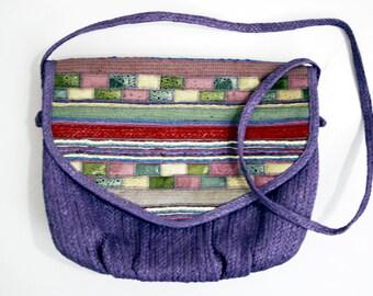 Pastel Purple and Multicolor Lightweight Vintage Straw Summer Shoulder Bag Purse