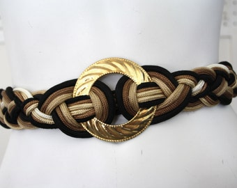 Fabulous 90's Gold Black and Brown Rope Belt with Circular Gold Tone Design