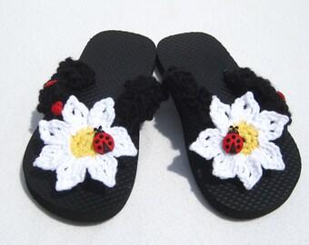 Girl's Flip Flops Ladybug Black Girl Sandals Flip Flops in Size 13/1 Ladybug Flip Flops Girl's Sandals Wedding Sandals Girl's Wedding Shoes