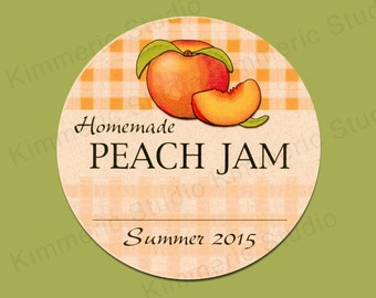 "PRINTED For You~ 2"" or 2.5"" Canning Labels ~ Homemade Peach Jam ~"