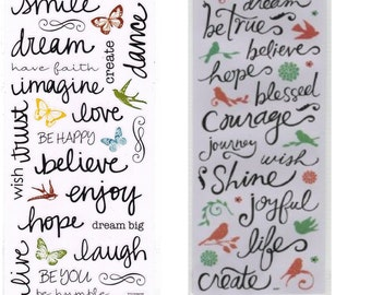 Sticker Sheet - Inspiration Handwritten Words | Phrases | Scrapbook | Cards