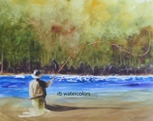 FLY FISHING PRINT / Fly Fishing art  / Fly Fishing Painting (11 x 13) Fly Fisherman watercolor) Father's Day Gift Christmas