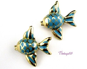 Fish Scatter pins Blue Gold tone
