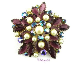 Purple Rhinestone Faux Pearl Large Brooch