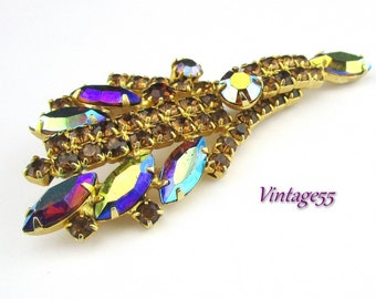 Rhinestone Brooch Purple Amber Large