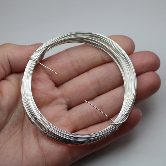 Silver Plated Wire 22 Gauge 0.6mm German Style 32.5 Feet (10m) Round Half Hard Solid Copper Core Bright Wrapping Jewelry Craft Sterling Look