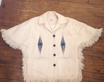 Ortega's 100% All Wool Handwoven Chimayo Jacket, Cape with Geometric Accents and Fringe, Vintage
