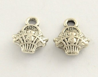 Fruit/Flower Basket Charm - Set of 25 - Double Sided - #HK1162