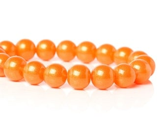 Pearlized Orange - Glass Beads - 10mm - 40 beads - #GBS199