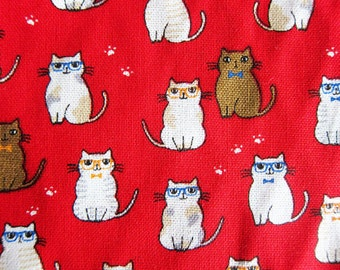 Animal Print Fabric By The Yard - Classy Cats Fabric on Red - Cotton Fabric - Half Yard