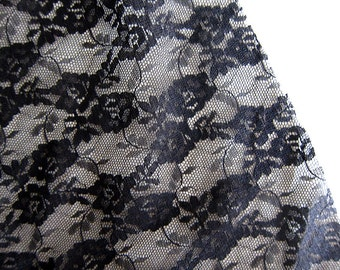 Destash Fabric - Black Lace and Black Cotton Fabric - Sale