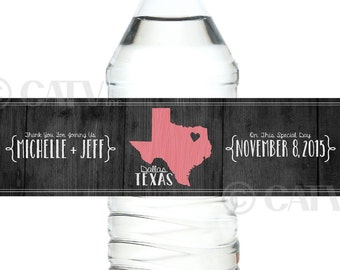 W118 Water Bottle state love dark wood Labels Custom with YOUR COLORS wedding date personalized names self adhesive water proof