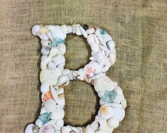 Sea Shell Covered 12 Inch Wedding Initial Letter  Monogram Door Wreath