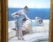 Victorian Neoclassic Print: 3 Goddess Gals in Ornate Antique Gilded Wood Frame, Silver Favourites by Alda Tadema