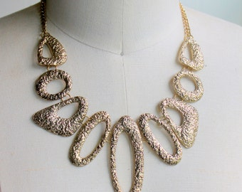 Vintage Necklace STATEMENT Gold Tone Signed EL