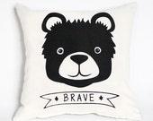 Brave Bear - hand printed bear organic pillow